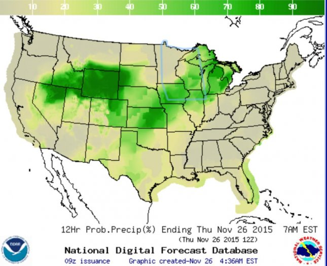 Snow, sleet, ice and rain are expected through the central United States on Thanksgiving day. Image from the National Weather Service