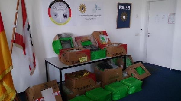 Workers at 13 Aldi stores in the Berlin-Brandenburg region discovered a total 850 pounds of cocaine hidden in boxes of bananas. Photo courtesy Berlin Police