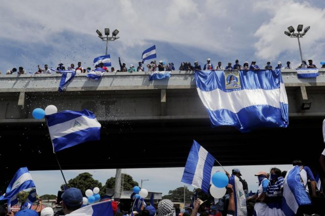 Hundreds of people participate in a march named Together we are homeland in Managua, Nicaragua, on September 15. Demonstrators are protesting the government of Nicaraguan President Daniel Ortega. File Photo by Esteban Biba/EPA-EFE