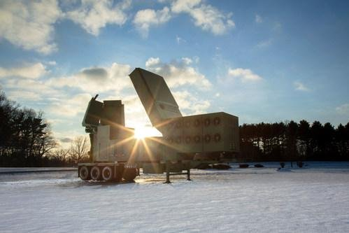A full scale mock-up of Raytheon's Lower Tier Air and Missile Defense Sensor is shown. Photo courtesy of Raytheon