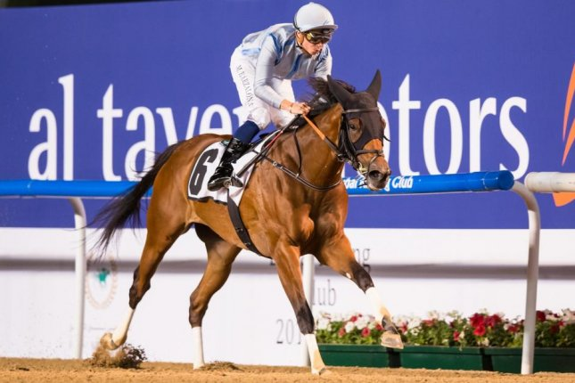 Down On Da Bayou blitzes her rivals in Thursday's UAE Oaks at Meydan, and now is headed for the Saudi Derby. Photo by Erika Rasmussen, courtesy of Dubai Racing Club