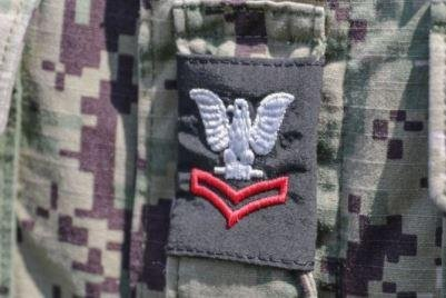 The U.S. Navy authorized new rank insignia for camouflage uniforms to make rank easier to identify. Photo courtesy of Navy Personnel Command