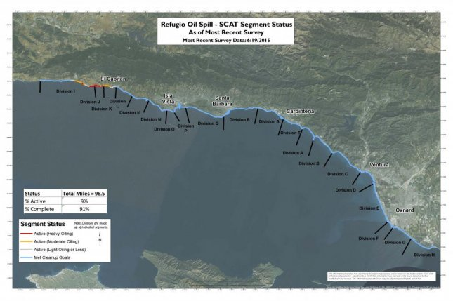 Refugio response team says more than 90 percent of soiled beaches have met cleanup goals since mid-May spill. Map courtesy of Refugio Response Joint Information Center.