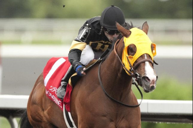 Come To Mischief is all-alone in a 6-lengths romp in Sunday's My Dear Stakes for 2-yaer-old fillies at Woodbine -- her first career start. (Woodbine photo)