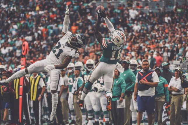 Miami Dolphins wide receiver DeVante Parker scored two touchdowns in a win against the Philadelphia Eagles Sunday in Miami. Photo courtesy of the Miami Dolphins