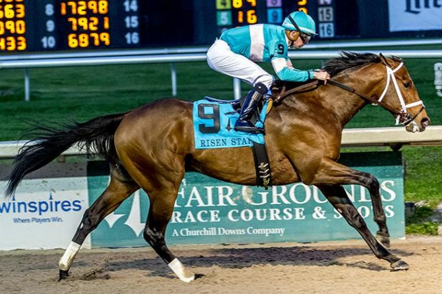 Mr. Monomoy wins the first division of Saturday's Grade II Risen Star Stakes, earning 50 Kentucky Derby points. Photo courtesy of Fair Ground