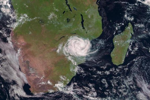 Satellite image captures Cyclone Idai over Mozambique on Friday morning. Photo courtesy European Organization for the Exploitation of Meteorological Satellites.
