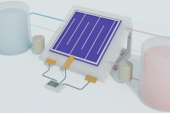 A schematic illustration of an integrated solar flow battery is hooked up to tanks of chemicals that can store electricity for later use. Photo by Wenjie Li/University of Wisconsin-Madison