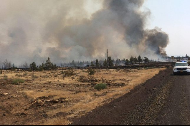 The Cow Canyon fires burns on August 6 in Wasco County, Ore. Photo courtesy of Wasco County Sheriff's Office/Facebook