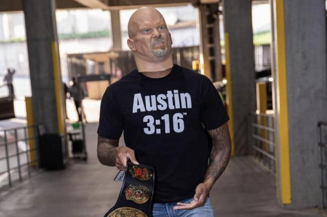 Damian Lillard dressed up as Stone Cold Steve Austin before the Portland Trail Blazers and Washington Wizards game on Monday in Portland. Photo courtesy of the Portland Trail Blazers.