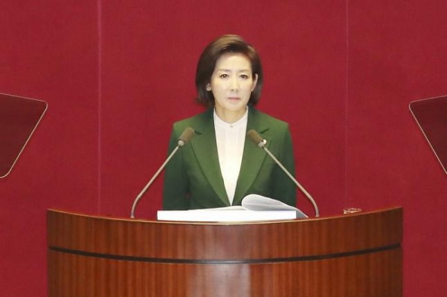 Na Kyung-won, a veteran lawmaker and conservative, criticized President Moon Jae-in on Tuesday. Photo by Yonhap/EPA-EFE