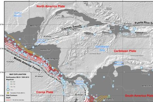 A U.S. Geological Survey map showing the history of earthquakes near the border of Mexico and Guatemala. (USGS)