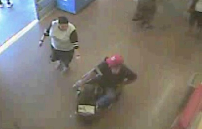 An Arizona man pinned a Walmart employee against a wall with an electric scooter during an attempted theft. According to police, the unidentified man placed items in the scooter and tried to leave the store without paying for them. Screen capture/Pima County Sheriff's Department/Facebook
