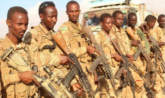 Troops of the Somali Army. The insurgent group al-Shabab said 61 Somalis soldiers died in an an attack on their base in Somalia's semi-autonomous Puntland region on Thursday. Photo courtesy of Amisom/African Union