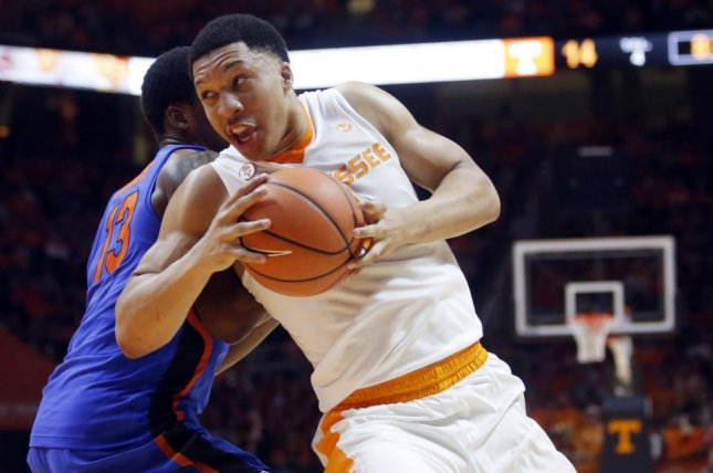 Tennessee sophomore forward Grant Williams makes a spin move on a defender. Williams, who is averaging 15.6 points, 5.8 rebounds and 1.8 assists per game, was named SEC Player of the Year this week. Photo courtesy of Tennessee Basketball/Twitter