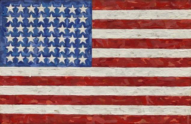 jasper johns american flag painting sells for 36 million on