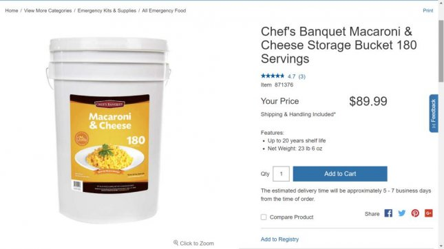 Costco is now selling a 27-pound bucket of macaroni and cheese in its emergency food section. Photo by Costco.com
