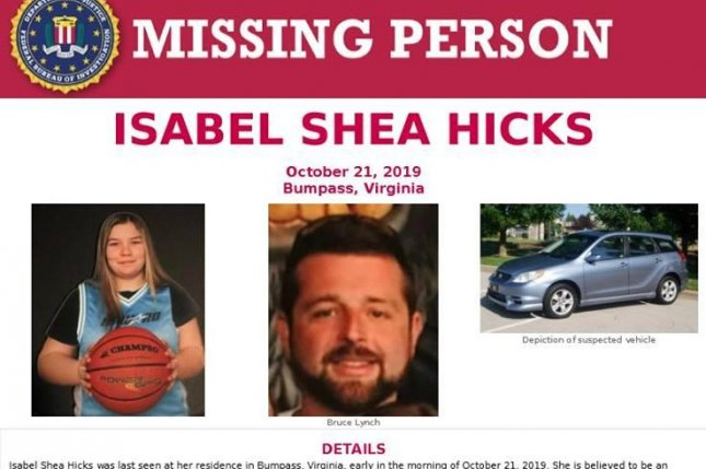 An Amber Alert has been issued for 14-year-old Isabel Shae Hicks, who has been missing since Monday. Police believe she was abducted from her Bumpass, Va. home by 33-year-old Bruce William Lynch. Photos from Louisa County Sheriff's Office/Facebook