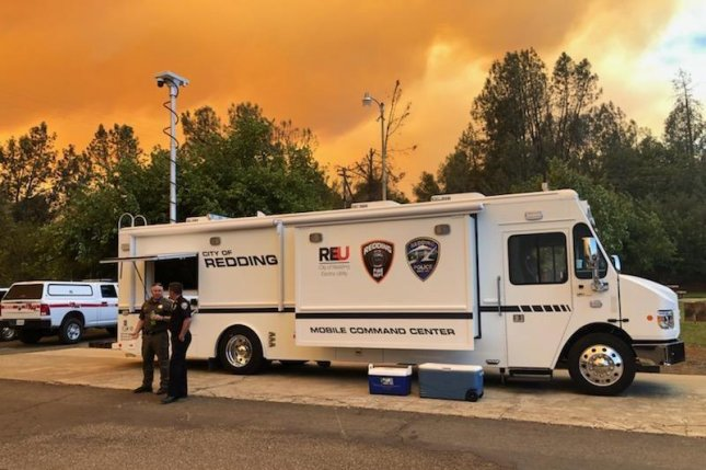 The city of Redding has set up a mobile operations center to respond to the Fawn Fire that is blazing north of the city on Saturday. Photo courtesy of Shasta County Sheriff's office