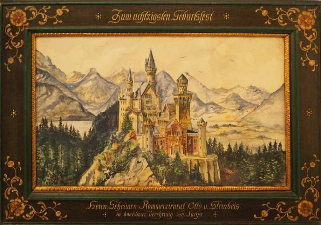 Watercolor signed A. HITLER View over Neuschwanstein Castle Photo courtesy of Weidler Auction House