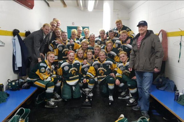 This photo of the Humboldt Broncos junior hockey team was posted on March 24 on Twitter after a big win. On Friday, a bus carrying the team collided with a truck in Saskatchewan, killing at least 15 and injuring 14 others. Photo by Humbolt Broncos/Twitter
