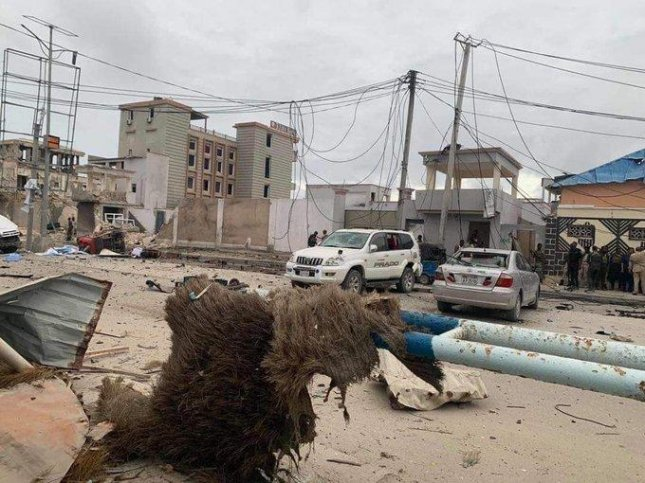 Somalia's Ministry of Information said Sunday that at least 16 people, including five attackers, were killed in a gunfight after a car bomb detonated outside a beachside hotel in Mogadishu. Photo by Ismael Mukhtaar Omar/Twitter
