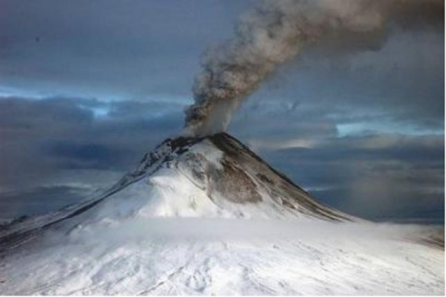 A new study indicates emissions from moderate volcanoes around the world, like the Augustine Volcano in Alaska, can mask some of the effects of global warming. Credit: U.S. Geological Survey