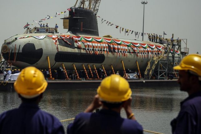 India's first Scorpene submarine, INS Kalvari, was deployed last year as part of a larger effort to strengthen the nation's naval fleet. File Photo by Divyakant Solanki/EPA
