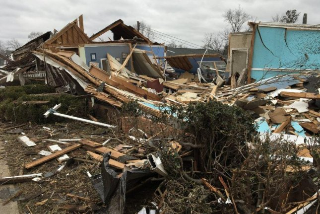 Wetumpka, Ala., was struck by an EF-2 tornado -- 111-135 mph winds -- with the worst damage in downtown. Photo courtesy National Weather Service Birmingham/Twitter