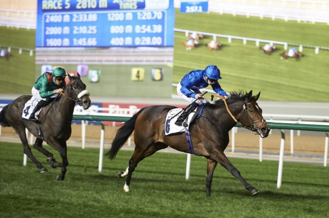 Beautiful Romance rolls home first in Thursday's Nad Al Sheeba Trophy at Meydan in Dubai. (Andrew Watkins/DRC)