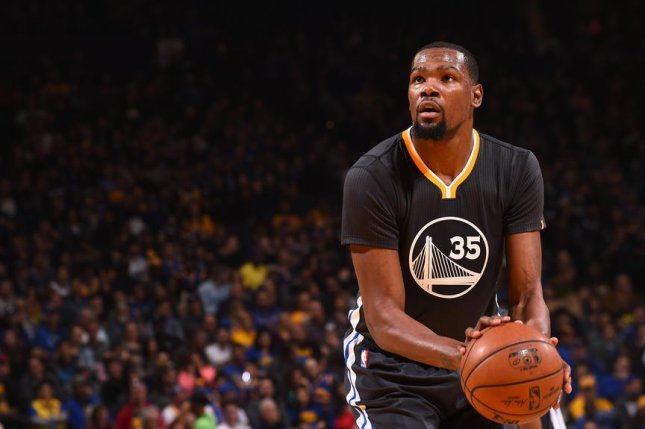 Kevin Durant made up for the lack of Steph Curry in the Golden State Warriors lineup on Saturday, April 8, 2017. Photo via NBA.com