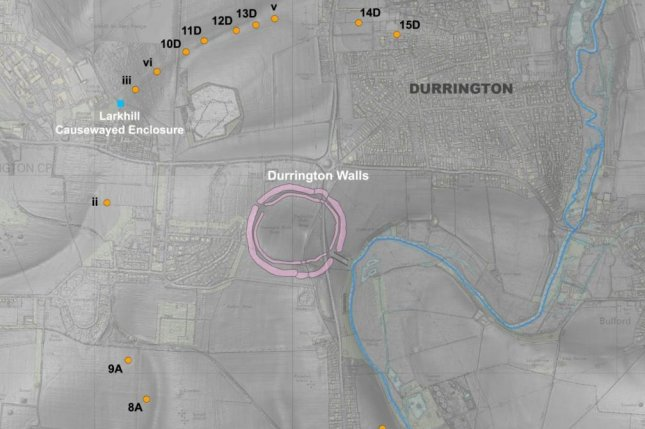 Archaeologists found a series of ancient pits encircling a prehistoric monument called the Durrington Walls. Photo by Vincent Gaffney, et al./Internet Archaeology/EDINA Digimap Ordnance Survey Service