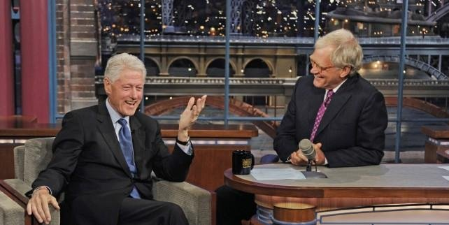 Bill Clinton and David Letterman on Late Show. CBS