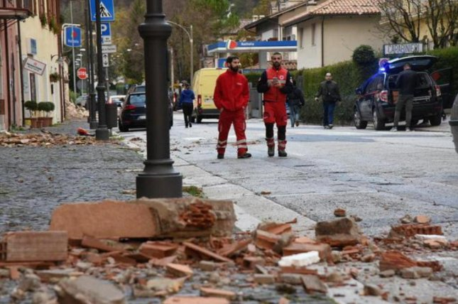 Officials in central Italy on Thursday began assessing the damage caused by two earthquakes measuring in magnitudes 6.1 and 5.5 that damaged buildings and injured dozens of people. Photo courtesy the Italian Red Cross
