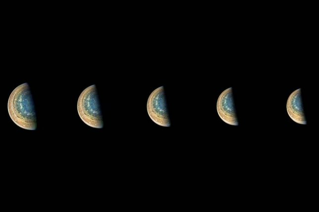 A time-lapse series shows clouds circling around Jupiter's south pole. Photo by NASA/JPL-Caltech/SwRI/MSSS/Gerald Eichstädt