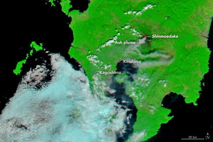 Satellite image shows the Shinmoedake volcano's ash plume drifting south and east across Japan's Kyushu island. Photo by NASA Earth Observatory/Joshua Stevens