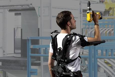 A Levitate AIRFRAME exoskeleton designed for manual labor is shown here. Photo courtesy Levitate