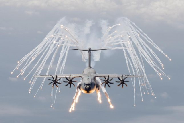 An A400M transport fires chaff to defend against missiles. (Photo: Airbus)