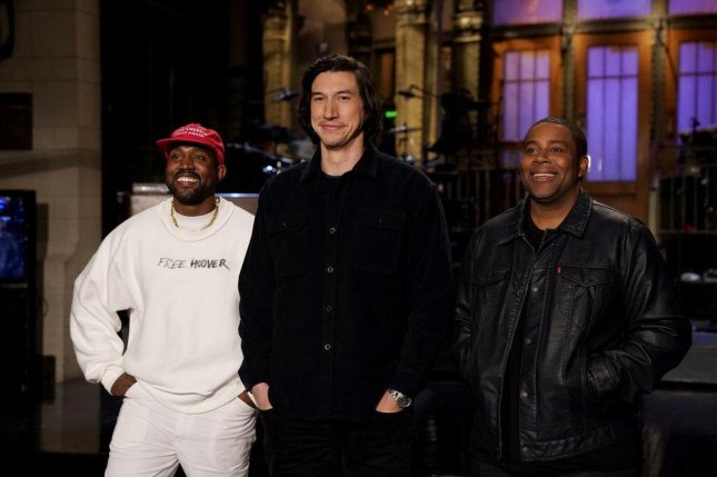Kanye West, Adam Driver and Kenan Thompson are seen promoting Saturday Night Live last week. Photo by Rosalind O'Connor/NBC