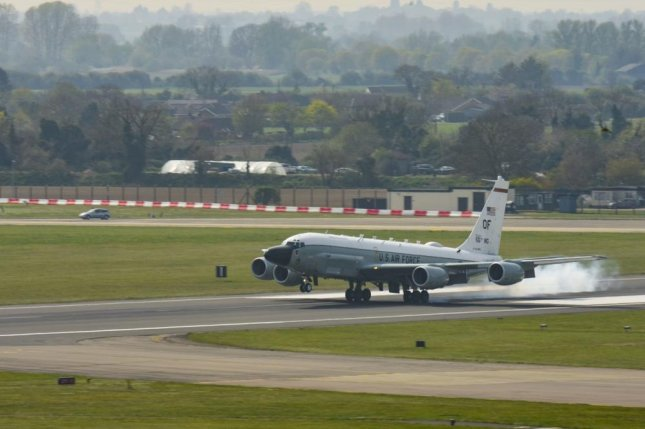 Russia's news agency reported Saturday that Russian fighter jets intercepted a U.S.Air Force RC-135 aircraft, like this one shown atRAF Mildenhall, Britain, in April 2019, in neutral airspace over the Sea of Japan this week. Photo by Joseph Barron/U.S. Air Force