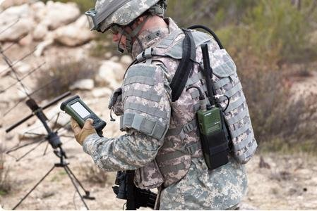 A U.S. soldier uses a Falcon III communications system. Photo: Harris Corporation.