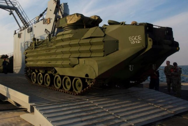 One Marine died and eight remain missing after after an amphibious assault vehicle took on water during an exercise Thursday near Marine Corps Base Camp Pendleton, Calif., officials said. Photo by Sgt. Logan Block/U.S. Marine Corps