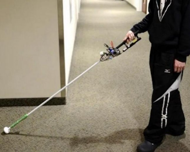Researchers are developing a robo-cane they think will improve on the help provided by the white cane that many blind people rely on for navigating the world. Photo courtesy of HealthDay News