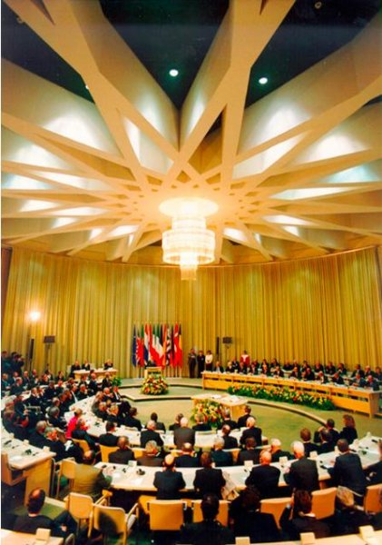 The signing of the Maastricht Treaty on February, 7 1992 in the Limburg Province Government buildings in Maastricht, Netherlands. Photo by Christian Lambiotte courtesy of European Commission Audiovisual Library