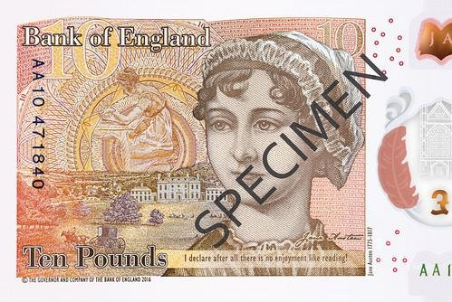Jane Austen will be featured on Britain's new £10 polymer banknote, which will include the quote, I declare after all there is no enjoyment like reading! -- said by a character in Pride and Prejudice. Image courtesy Bank of England