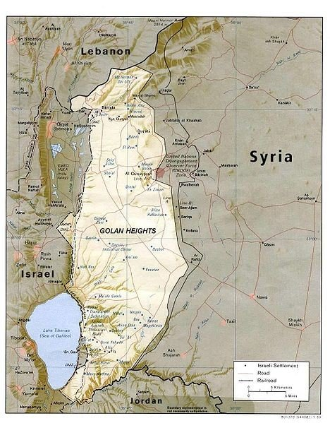 A map of the Golan Heights, via Wikimedia Commons.