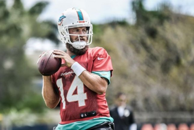 Veteran quarterback Ryan Fitzpatrick signed with the Miami Dolphins in March as a free agent. The Dolphins traded for former Arizona Cardinals quarterback Josh Rosen in April. Photo courtesy of the Miami Dolphins