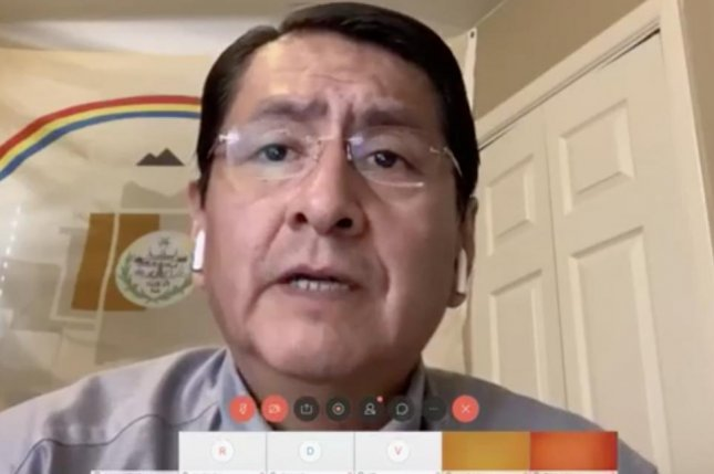 Navajo Nation President Jonathan Nez broadcast via a virtual town hall Thursday during self-quarantine in his home after he was exposed to COVID-19. Photo courtesy of Navajo Nation.