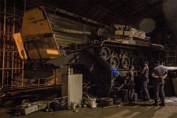 One of the two tanks discovered Monday at a Sao Paolo warehouse. Photo courtesy  Policia Militar do Estado de Sao Paulo