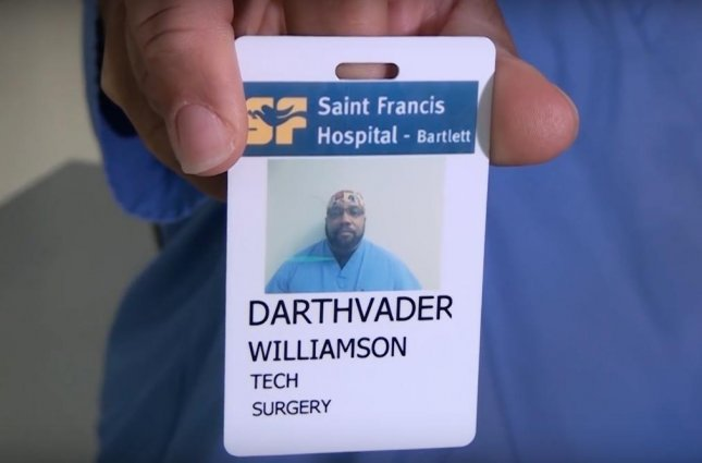 A hospital in Tennessee celebrated Star Wars Day on May 4 by spotlighting surgery technician Darth Vader Williamson, who was named after the main villain of the original trilogy of films.  Screen capture/Saint Francis Hospital-Bartlett/YouTube